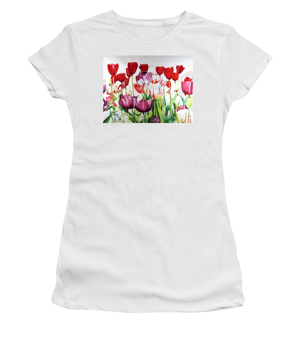 Tulips Women's T-Shirt (Athletic Fit) featuring the painting Attention by Elizabeth Carr
