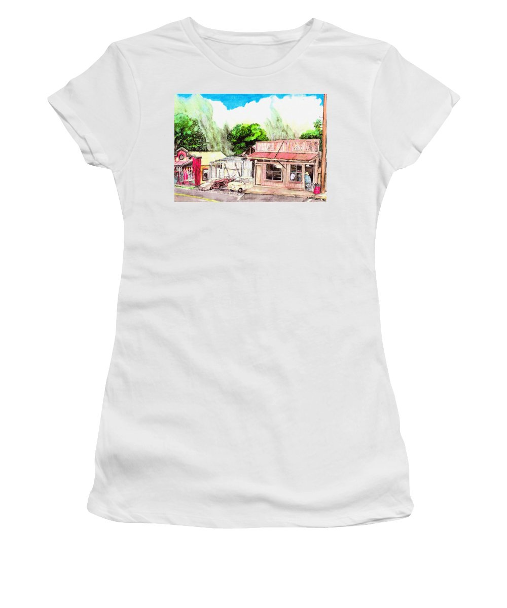 Historic Women's T-Shirt (Athletic Fit) featuring the painting Auggies Pool Hall by Eric Samuelson