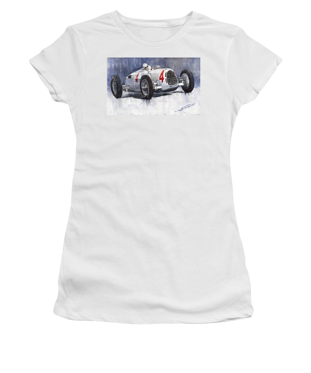 Auto Women's T-Shirt (Athletic Fit) featuring the painting Auto Union C Type 1937 Monaco Gp Hans Stuck by Yuriy Shevchuk