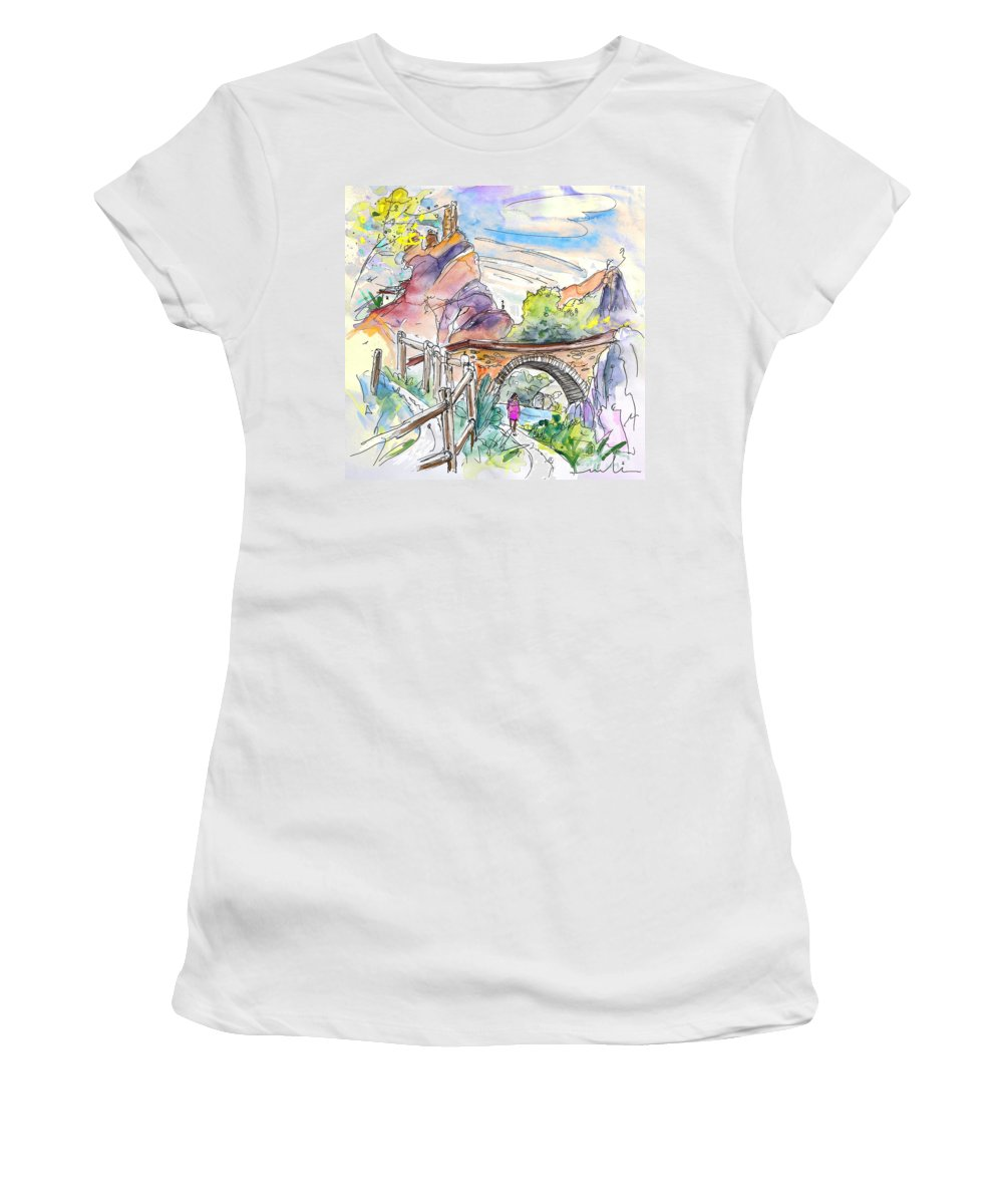 Arnedillo Women's T-Shirt (Athletic Fit) featuring the painting Autol In La Rioja Spain 02 by Miki De Goodaboom
