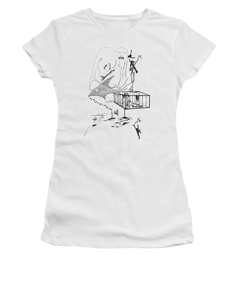 Drawing Pen Automatism Women's T-Shirt (Athletic Fit) featuring the drawing Automatism by Veronica Jackson