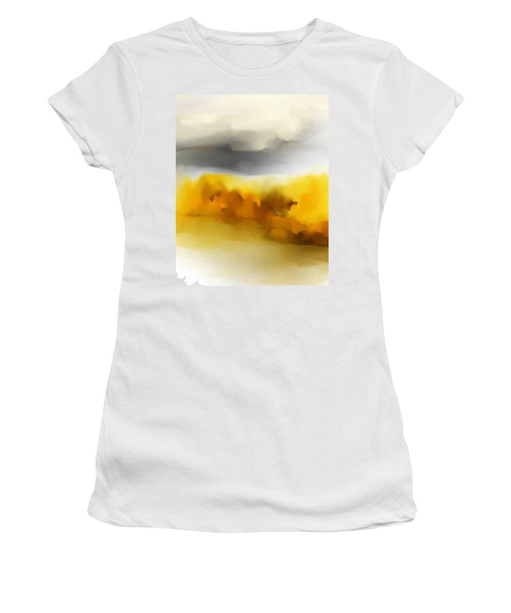 Landscape Women's T-Shirt (Athletic Fit) featuring the digital art Autumn Along The River by David Lane