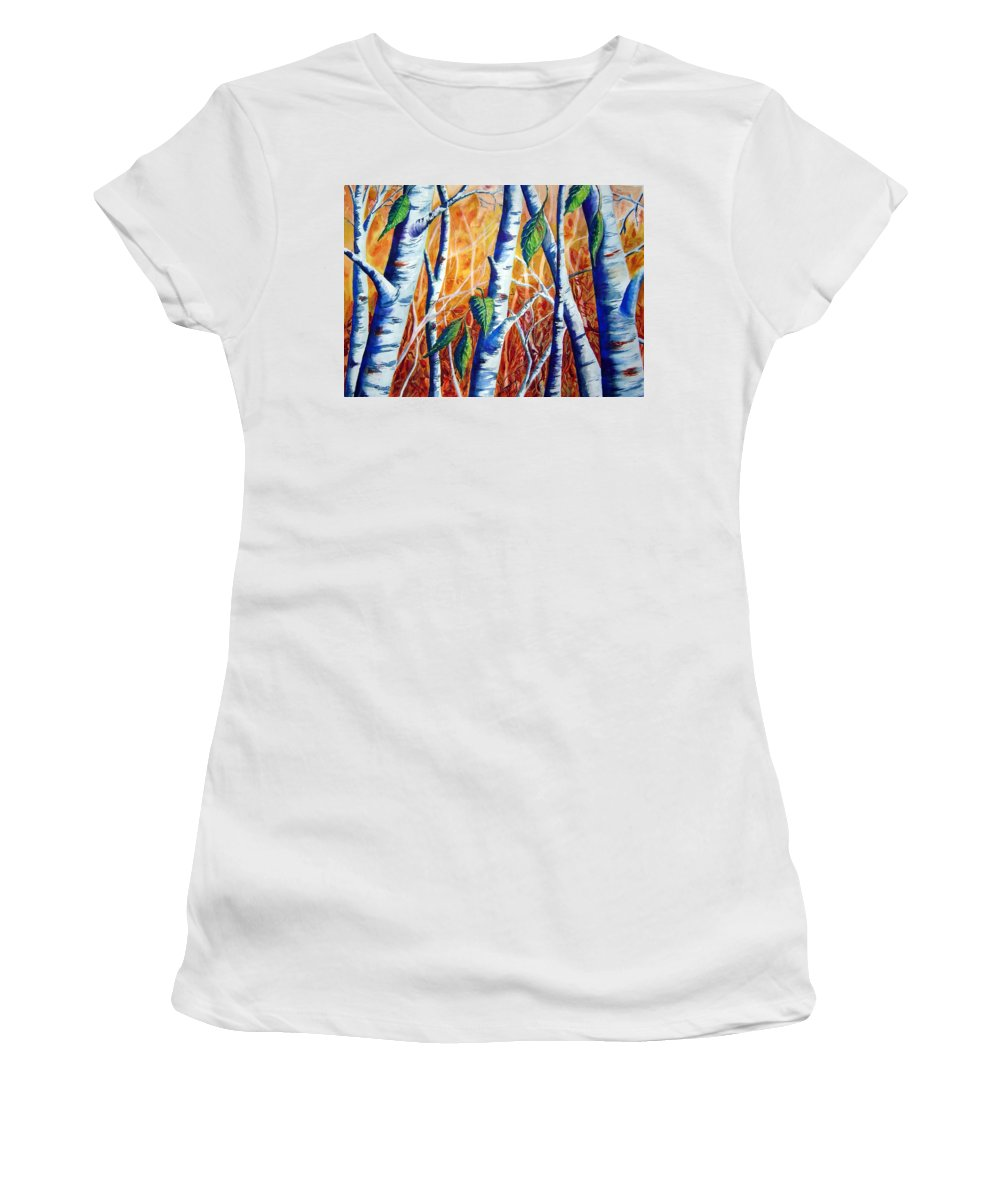 Autumn Birch Trees Women's T-Shirt (Athletic Fit) featuring the painting Autumn Birch by Joanne Smoley