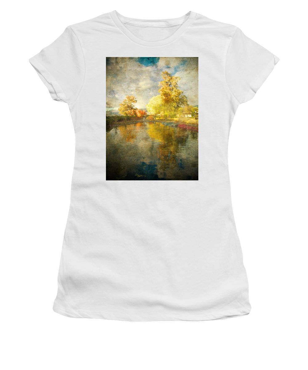Japanese Gardens Women's T-Shirt (Athletic Fit) featuring the photograph Autumn In The Pond by Tara Turner