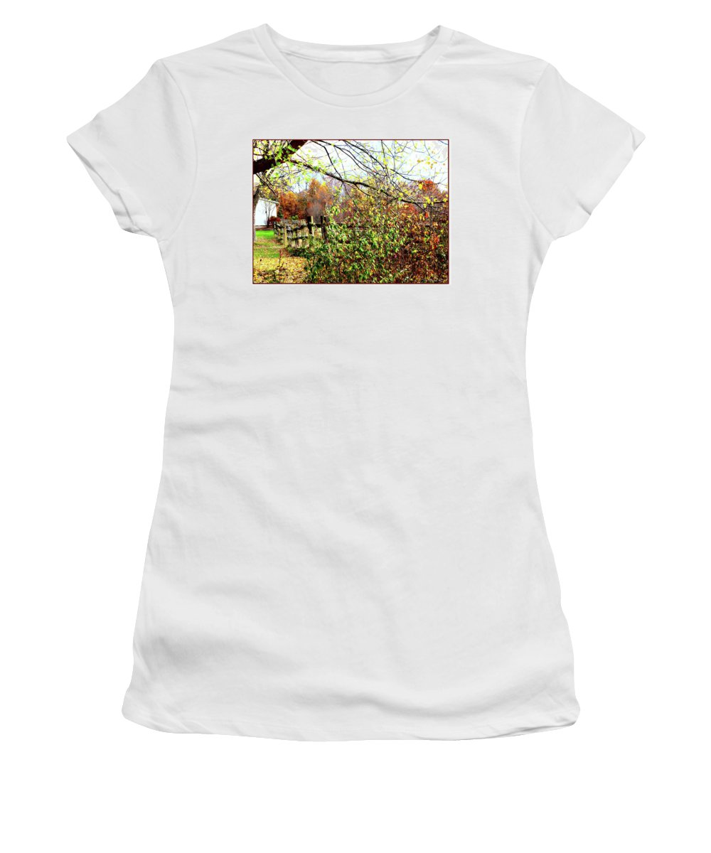 Fence Women's T-Shirt (Athletic Fit) featuring the digital art Autumn Leaves Against A Fence by Joan Minchak