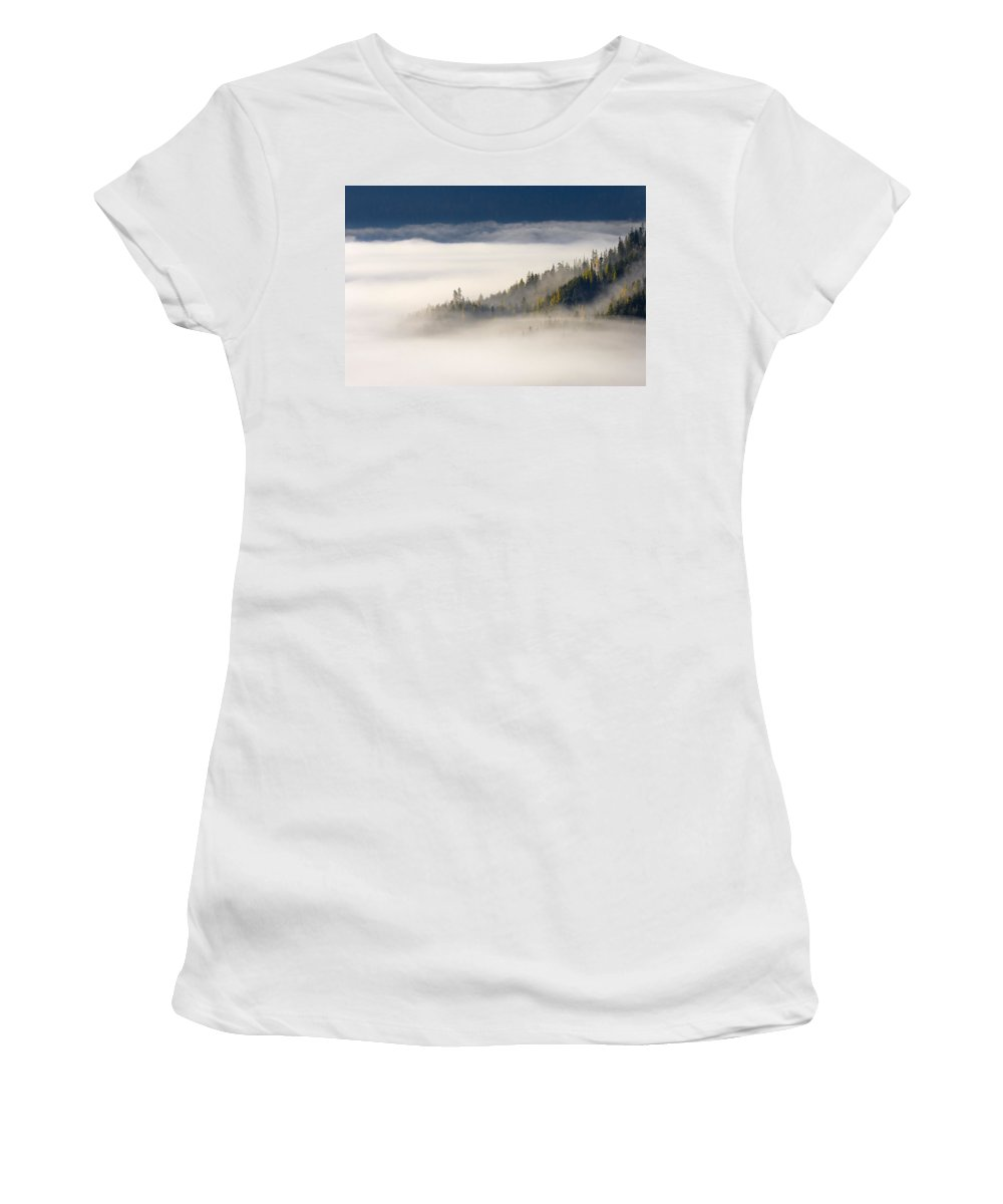 Fog Women's T-Shirt (Athletic Fit) featuring the photograph Autumn Morn by Mike Dawson
