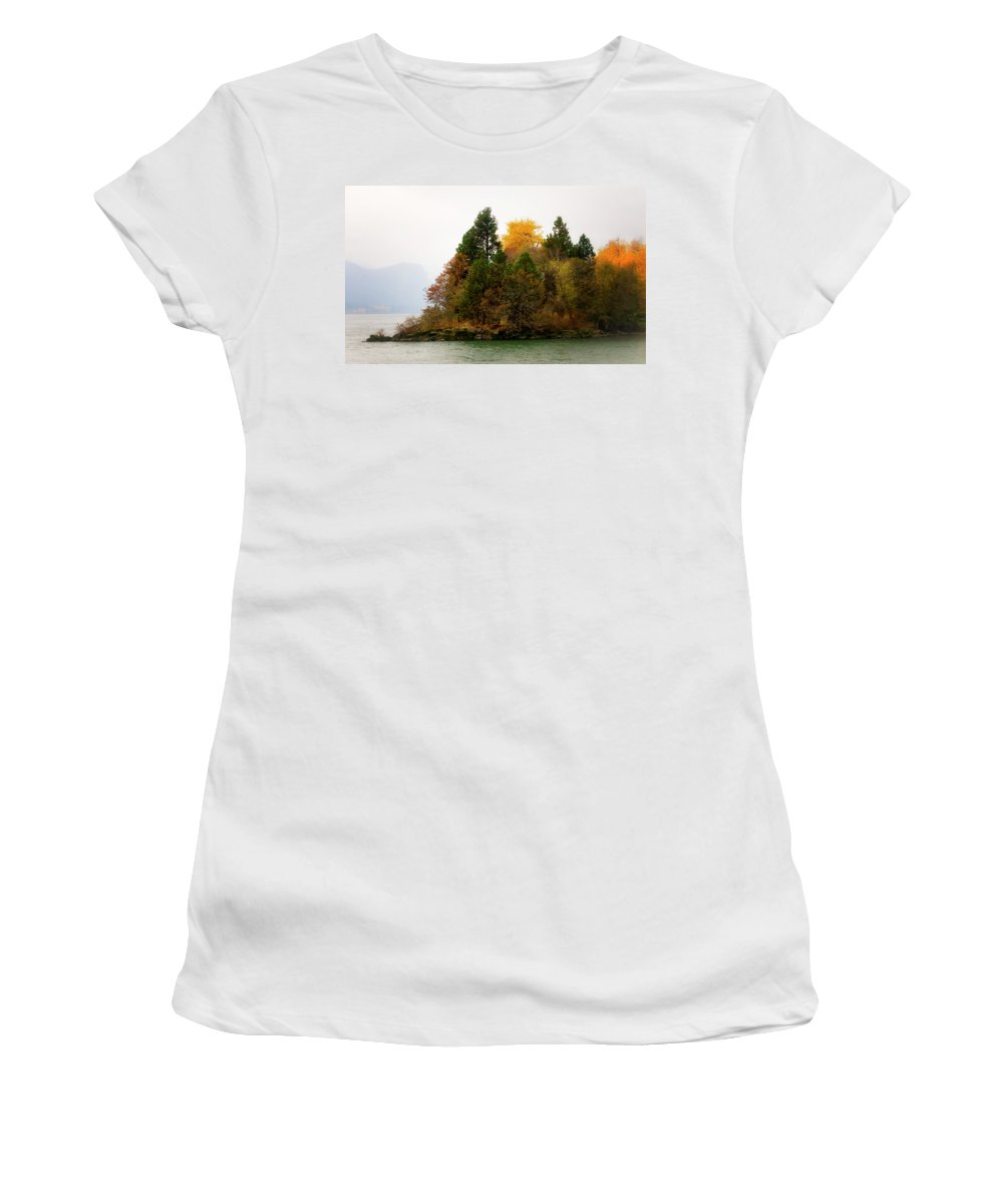 Women's T-Shirt featuring the photograph Autumn On The Columbia by Albert Seger