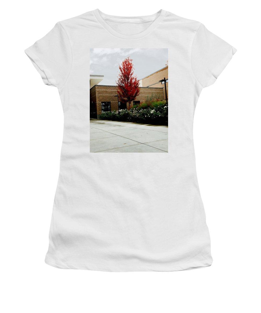 Autumn Women's T-Shirt featuring the photograph Autumn Rain by Aunalea Vasquez