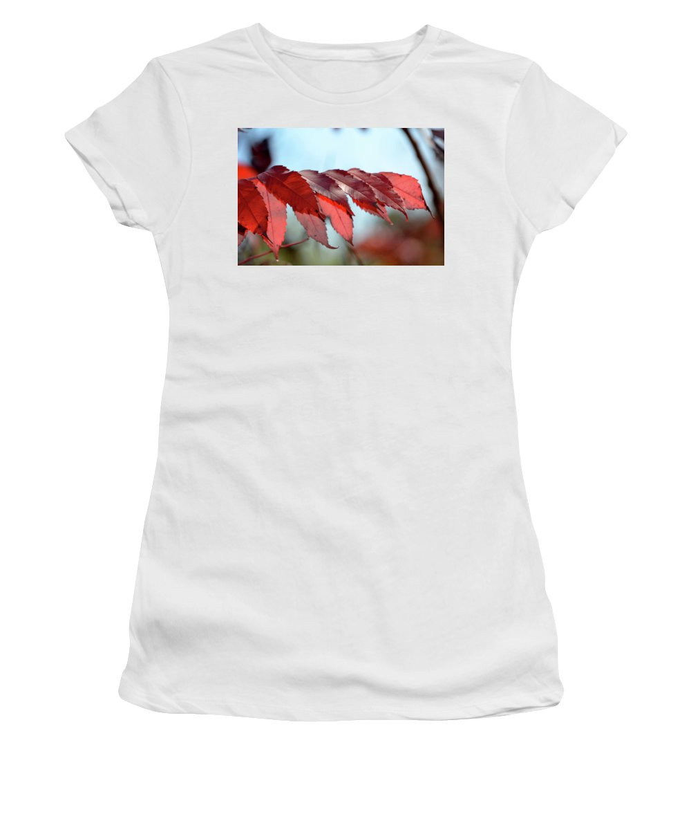 Sumac Women's T-Shirt (Athletic Fit) featuring the photograph Autumn Sumac by Melissa Hartner