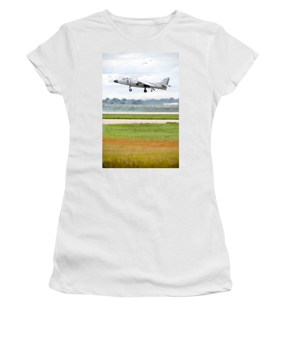 Airplane Women's T-Shirt (Athletic Fit) featuring the photograph Av-8 Harrier by Sebastian Musial