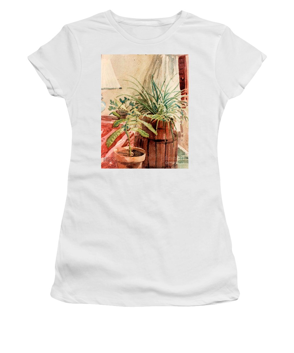 Potted Plants Women's T-Shirt (Athletic Fit) featuring the painting Avacado And Spider Plant by Donald Maier