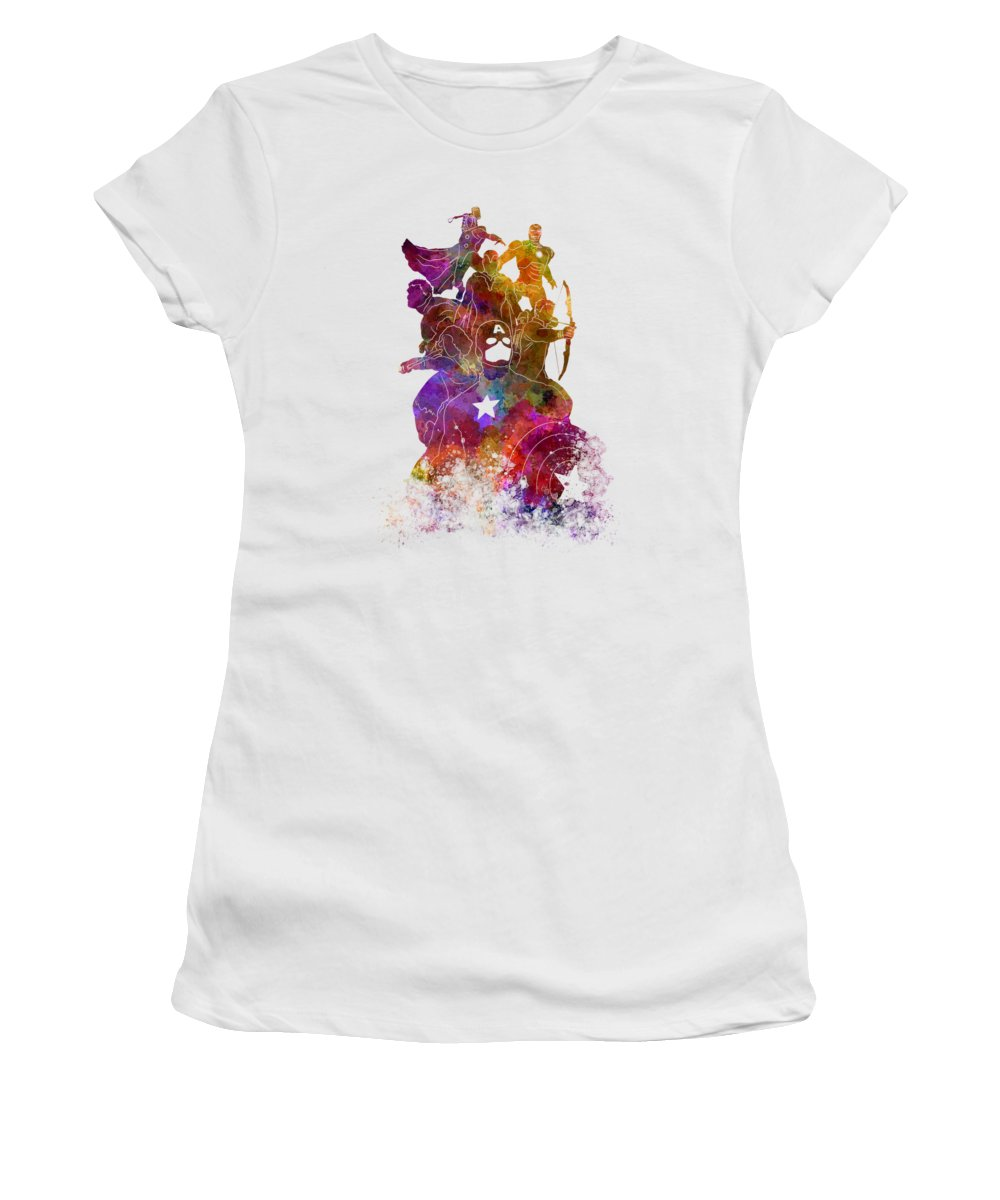 Avengers Women's T-Shirt featuring the painting Avengers 02 In Watercolor by Pablo Romero