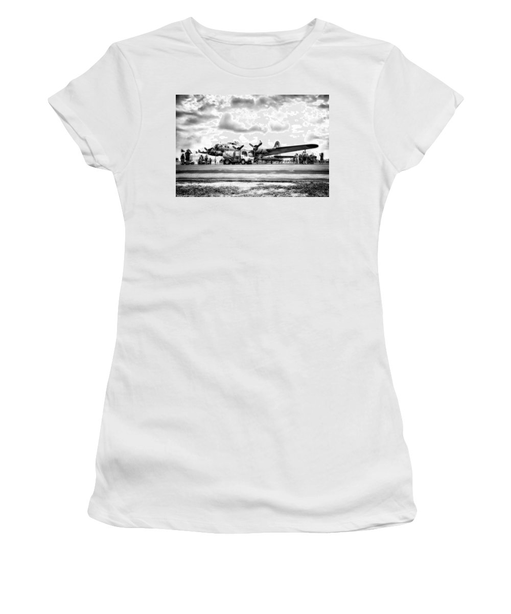 Hdr Women's T-Shirt featuring the photograph B-17 Bomber Fueling Up In Hdr by Michael White