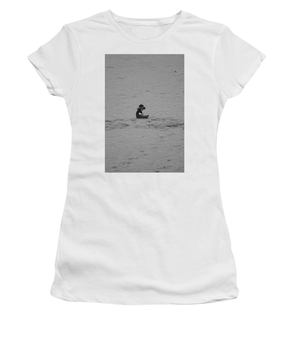 Black And White Women's T-Shirt (Athletic Fit) featuring the photograph Baby In The Sand by Rob Hans