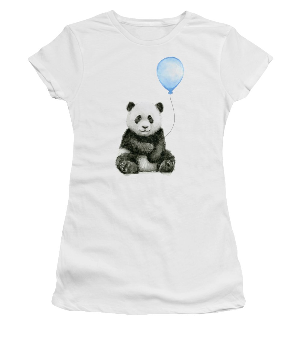 Baby Panda Women's T-Shirt featuring the painting Baby Panda With Blue Balloon Watercolor by Olga Shvartsur