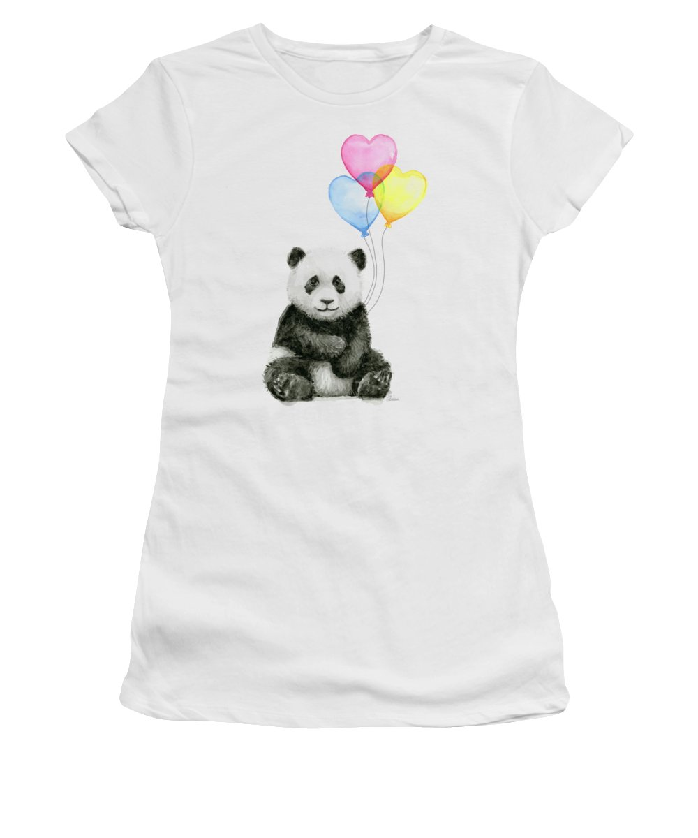 Baby Panda Women's T-Shirt featuring the painting Baby Panda With Heart-shaped Balloons by Olga Shvartsur