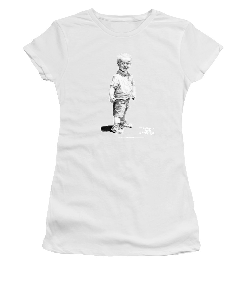 Vulcan Women's T-Shirt (Athletic Fit) featuring the drawing Baby Spock by Murphy Elliott