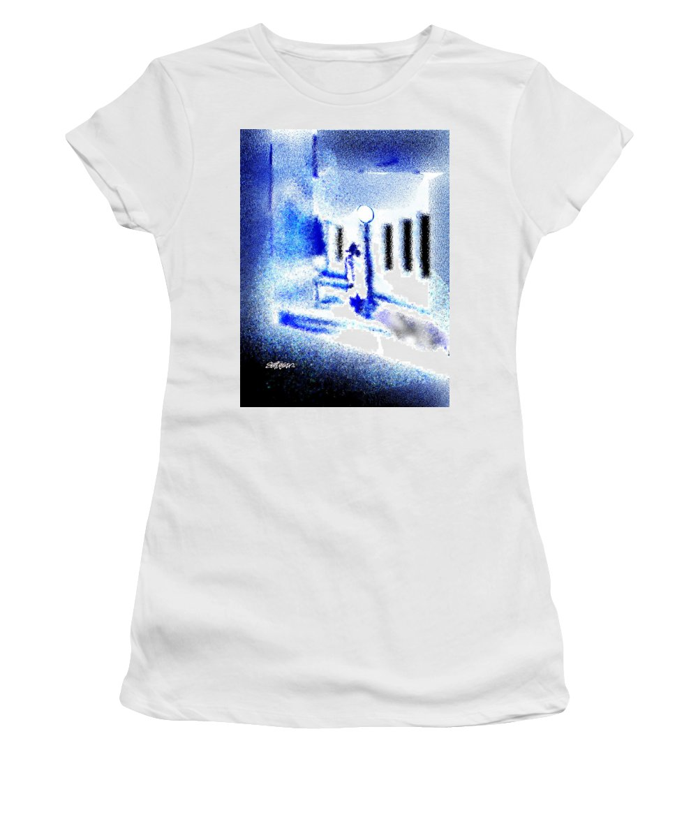 Back Alley Women's T-Shirt (Athletic Fit) featuring the digital art Back Alley Rendezvous by Seth Weaver