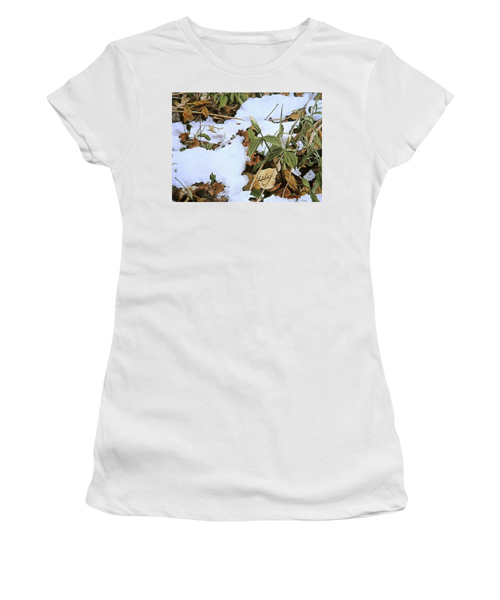 Still Life Women's T-Shirt (Athletic Fit) featuring the painting Back Forty by Conrad Mieschke