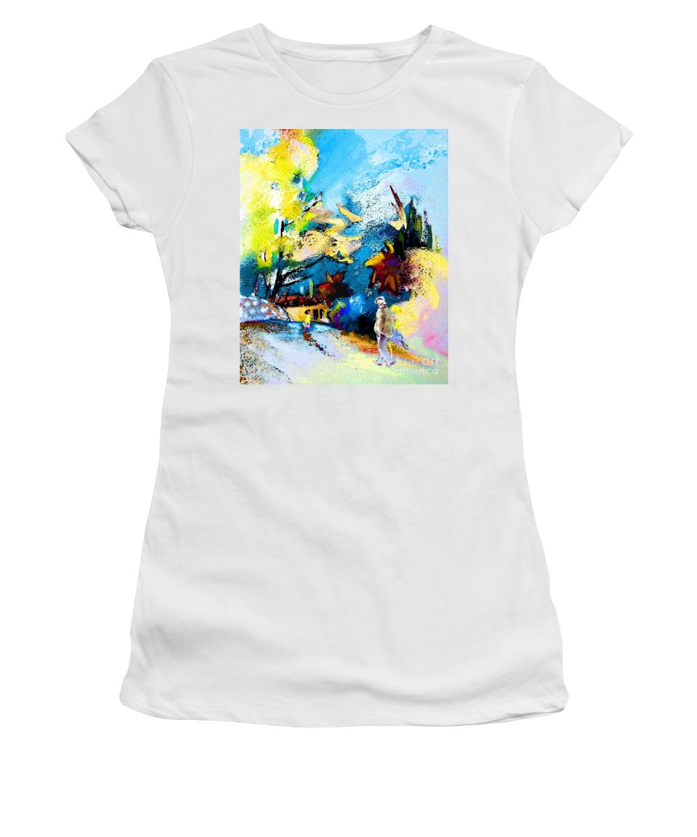 Pastel Painting Women's T-Shirt (Athletic Fit) featuring the painting Back Home by Miki De Goodaboom