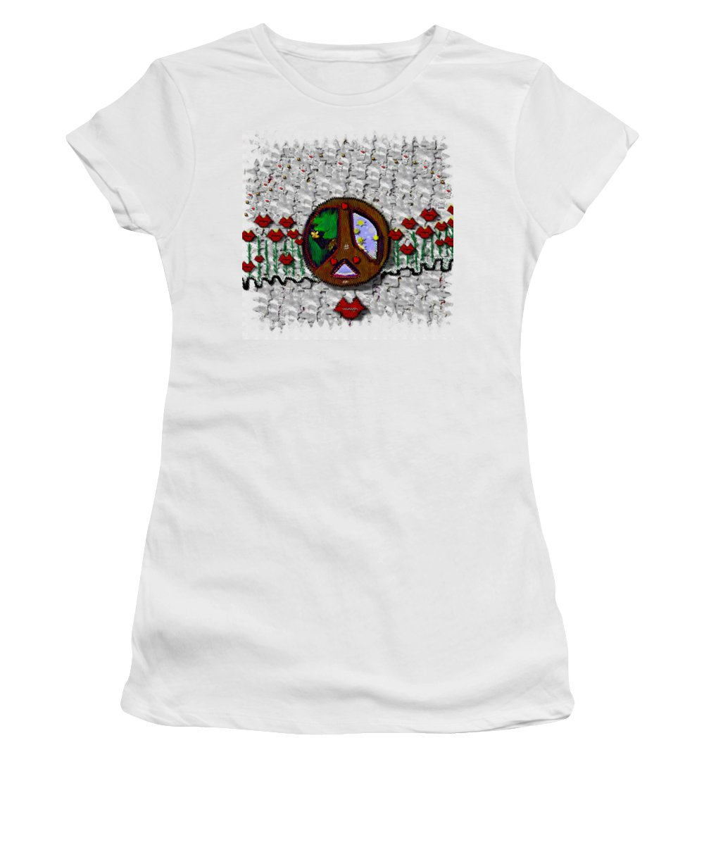 Peaceful Landscape Women's T-Shirt (Athletic Fit) featuring the mixed media Back To The Green Nature With A Angel Smile by Pepita Selles