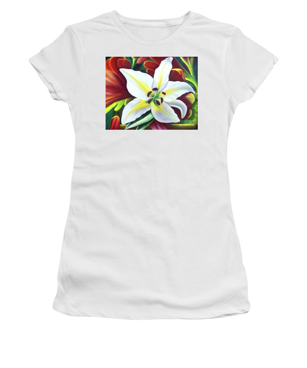 Flowers Women's T-Shirt (Athletic Fit) featuring the painting Backlit Lilly by Sonsoles Shack