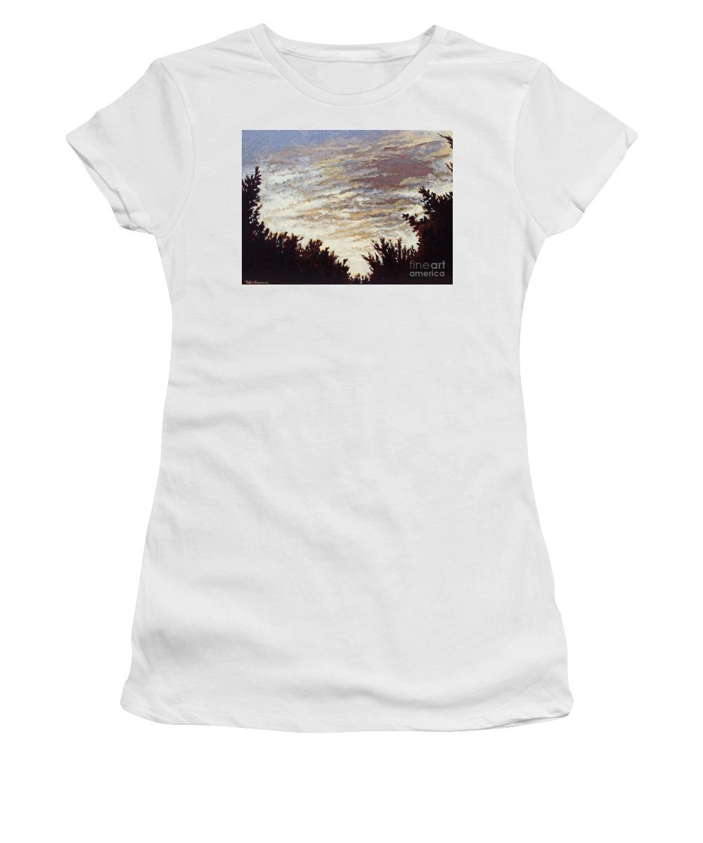 Landscape Women's T-Shirt (Athletic Fit) featuring the painting Backyard Sunset by Todd Blanchard
