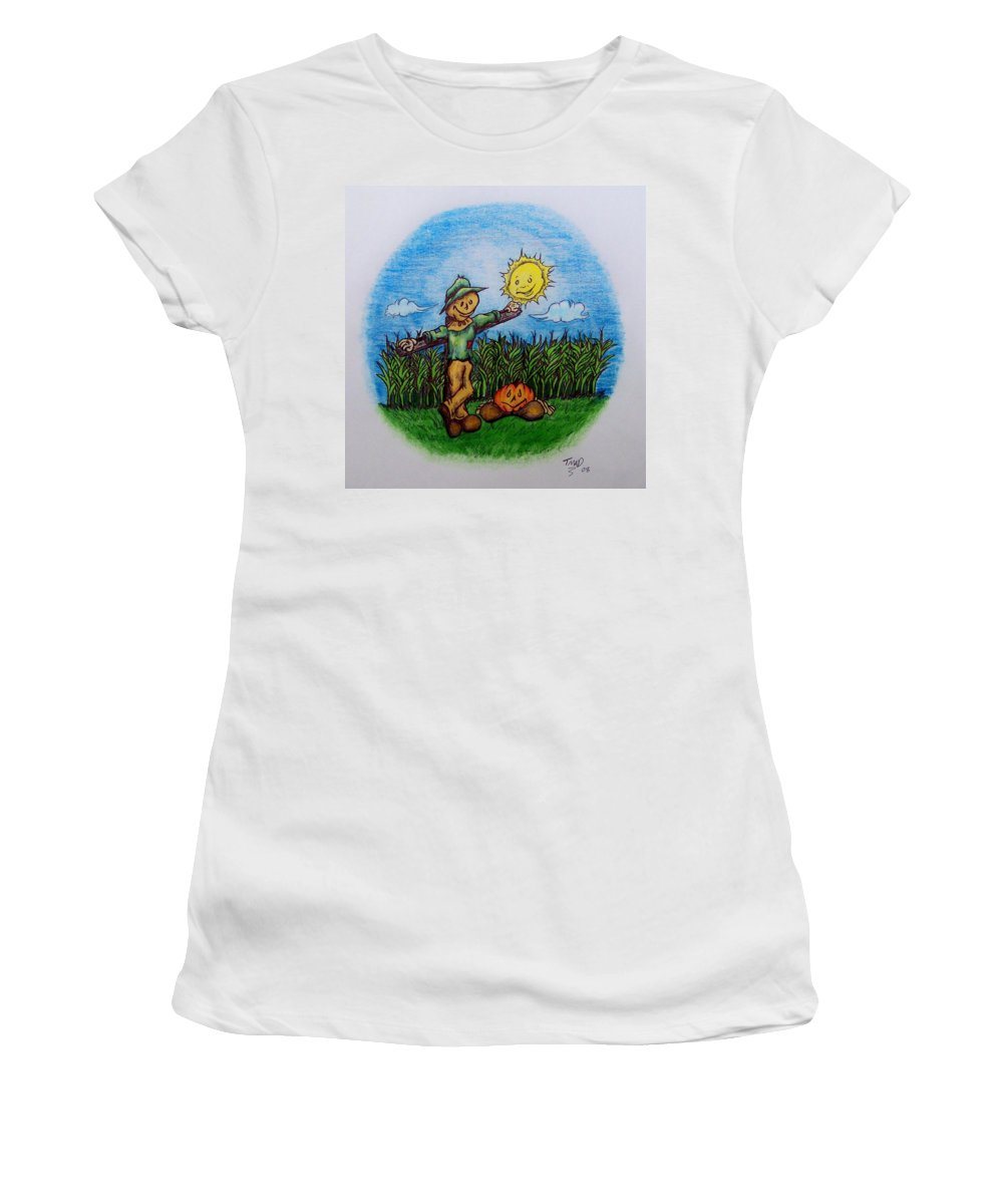 Michael Women's T-Shirt featuring the drawing Baggs And Boo by Michael TMAD Finney