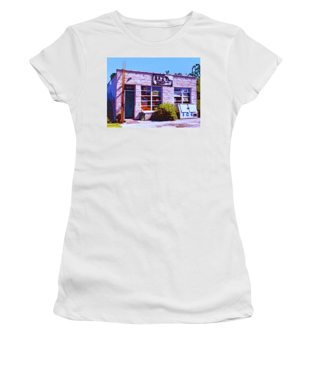 Bait Shop Women's T-Shirt (Athletic Fit) featuring the mixed media Bait Shop by Dominic Piperata