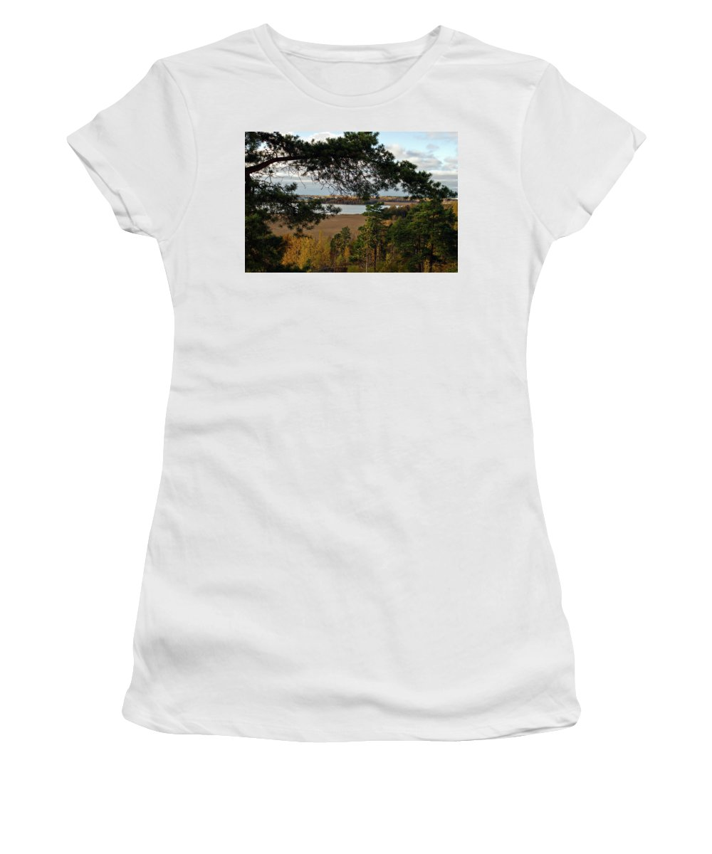 Vanhankaupunginlahti Women's T-Shirt (Athletic Fit) featuring the photograph Balcony View by Jarmo Honkanen