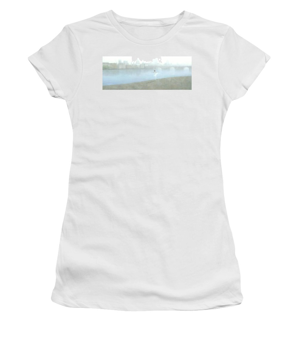 Ballerina Women's T-Shirt (Athletic Fit) featuring the painting Ballerina On The Thames by Steve Mitchell
