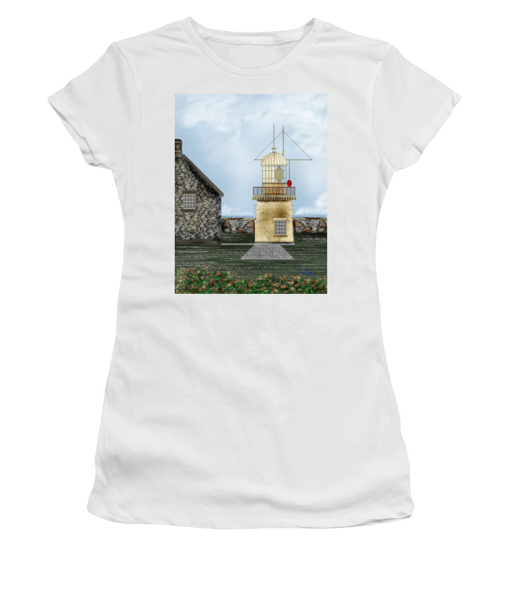 Lighthouse Women's T-Shirt (Athletic Fit) featuring the painting Ballinacourty Lighthouse At Waterford Ireland by Anne Norskog