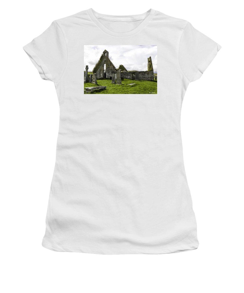 Balnakeil Women's T-Shirt featuring the photograph Balnakeil Church by Fran Gallogly