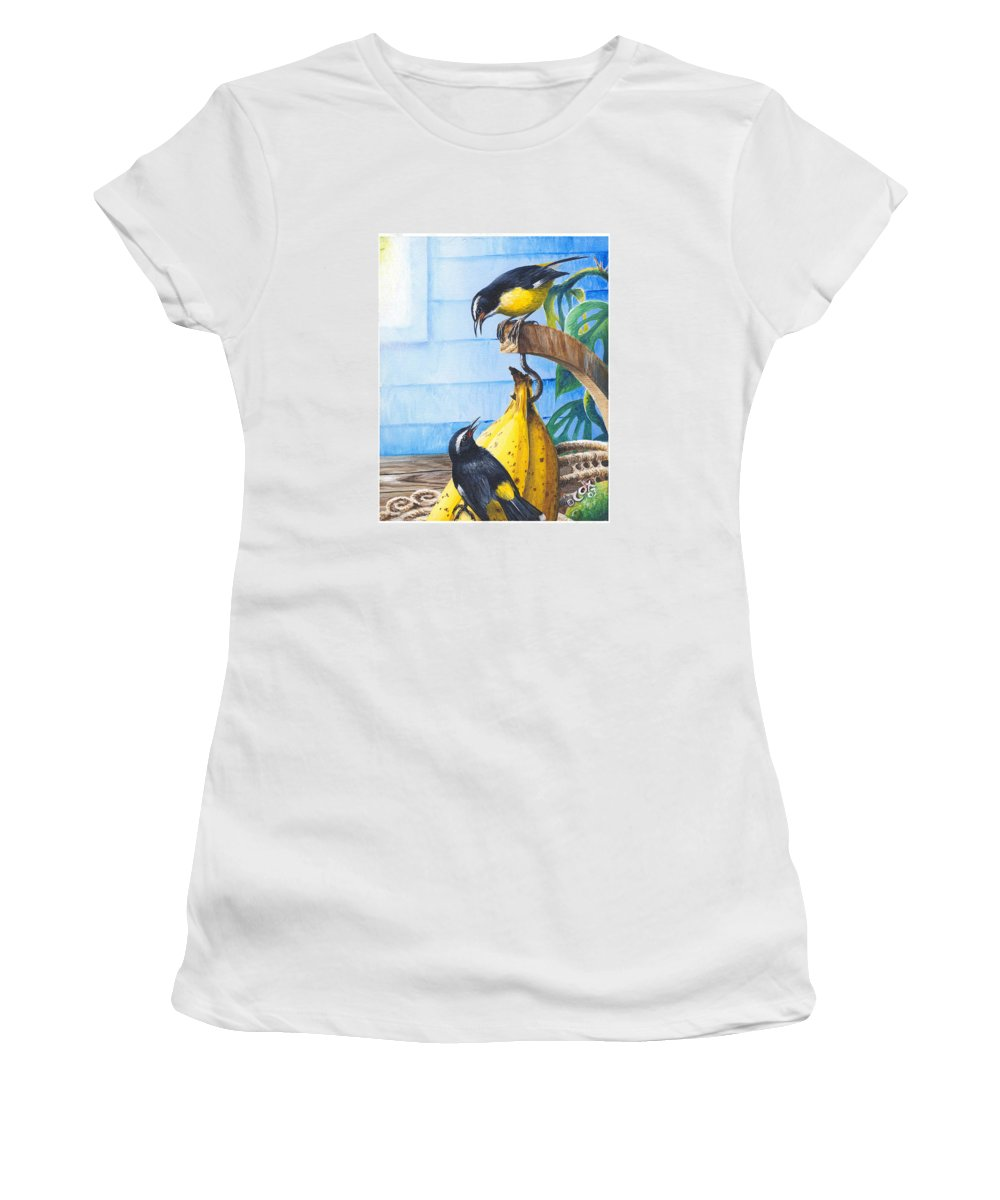 Chris Cox Women's T-Shirt (Athletic Fit) featuring the painting Bananaquits And Bananas by Christopher Cox