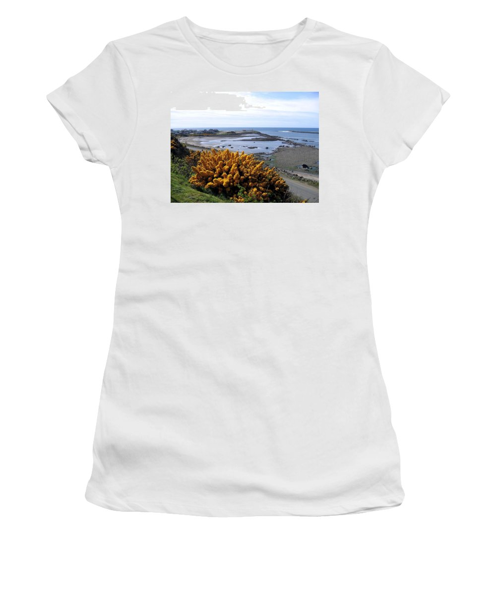 Harbor Entrance Women's T-Shirt (Athletic Fit) featuring the photograph Bandon Harbor Entrance by Will Borden