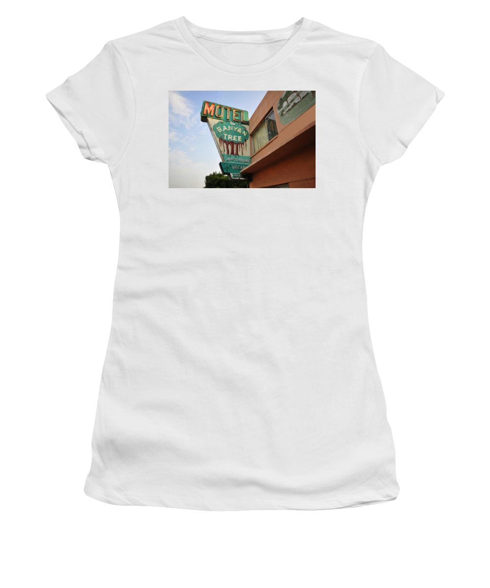 Fine Art Photography Women's T-Shirt (Athletic Fit) featuring the photograph Banyan Tree Motel by David Lee Thompson