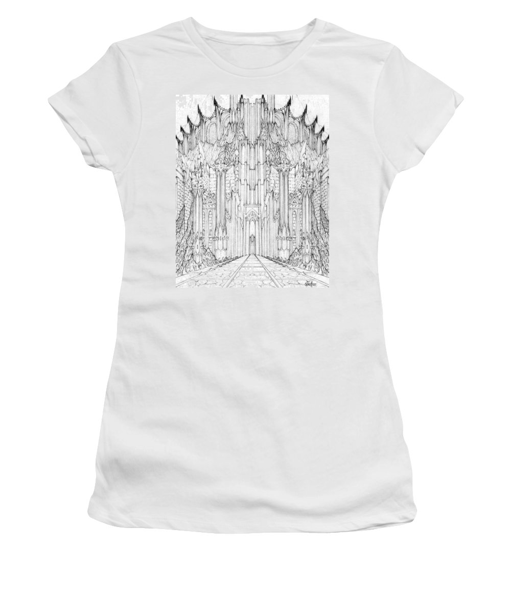 Barad-dur Women's T-Shirt (Athletic Fit) featuring the drawing Barad-dur Gate Study by Curtiss Shaffer