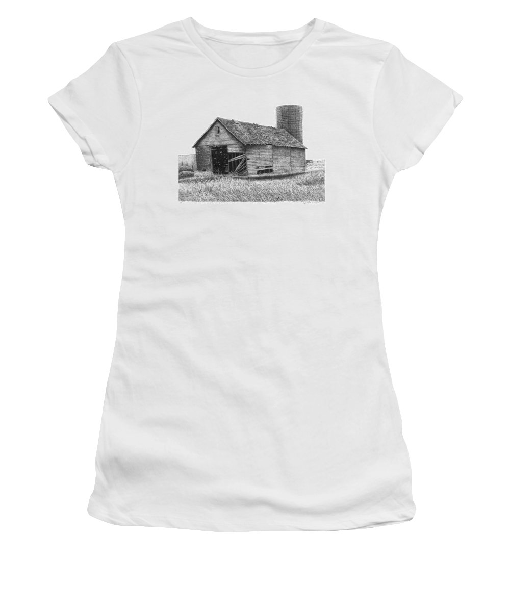 Barn Women's T-Shirt (Athletic Fit) featuring the drawing Barn 19 by Joel Lueck