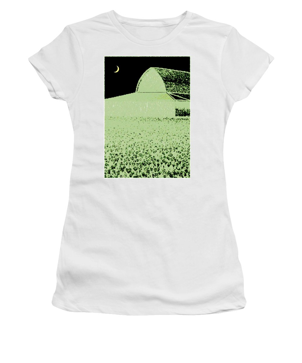 Abstract Women's T-Shirt (Athletic Fit) featuring the digital art Barn Abstract by Will Borden