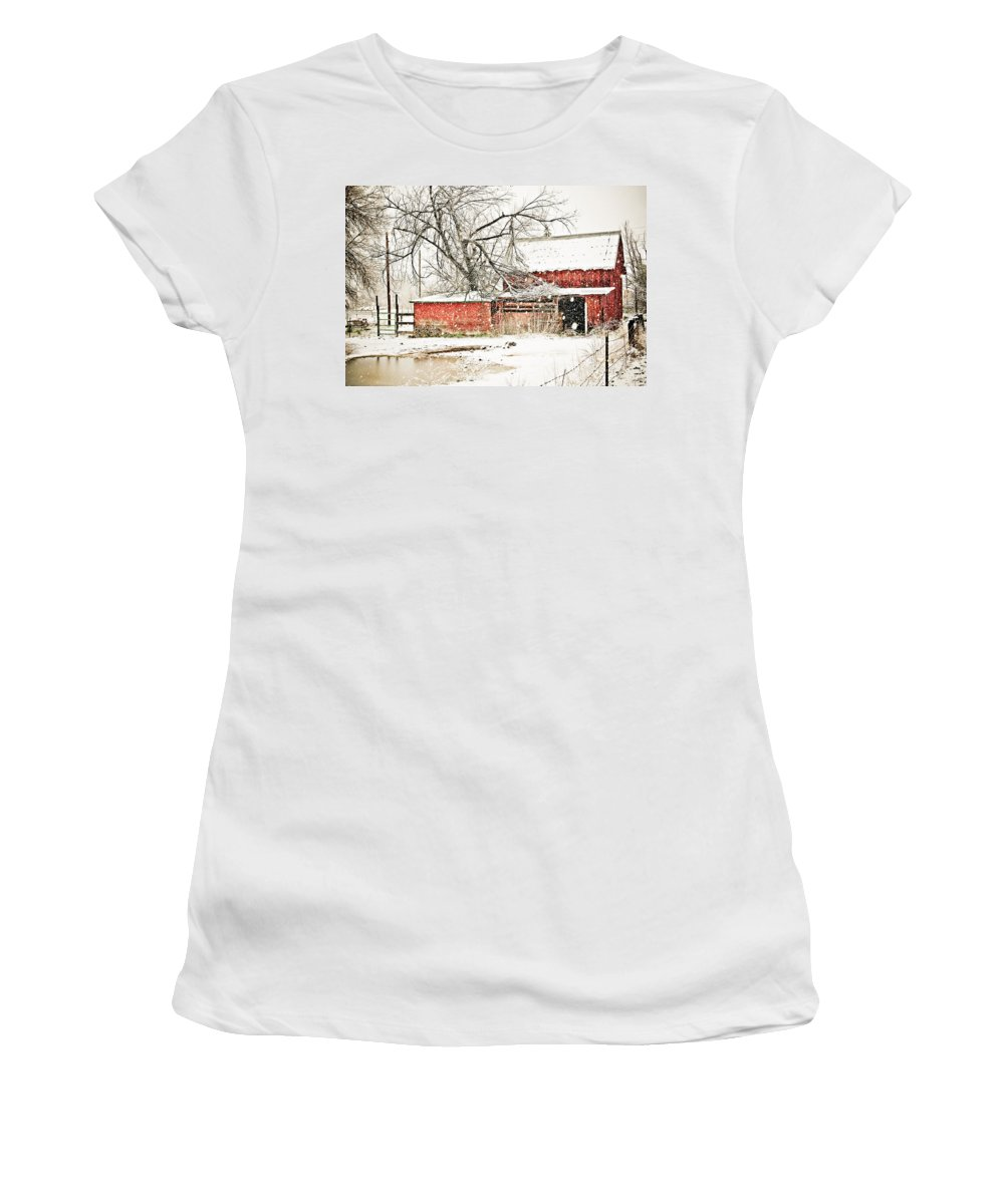 Americana Women's T-Shirt (Athletic Fit) featuring the photograph Barn And Pond by Marilyn Hunt