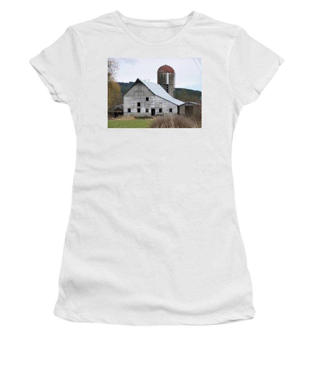 Digital Photography Women's T-Shirt (Athletic Fit) featuring the photograph Barn And Silo by Laurie Kidd