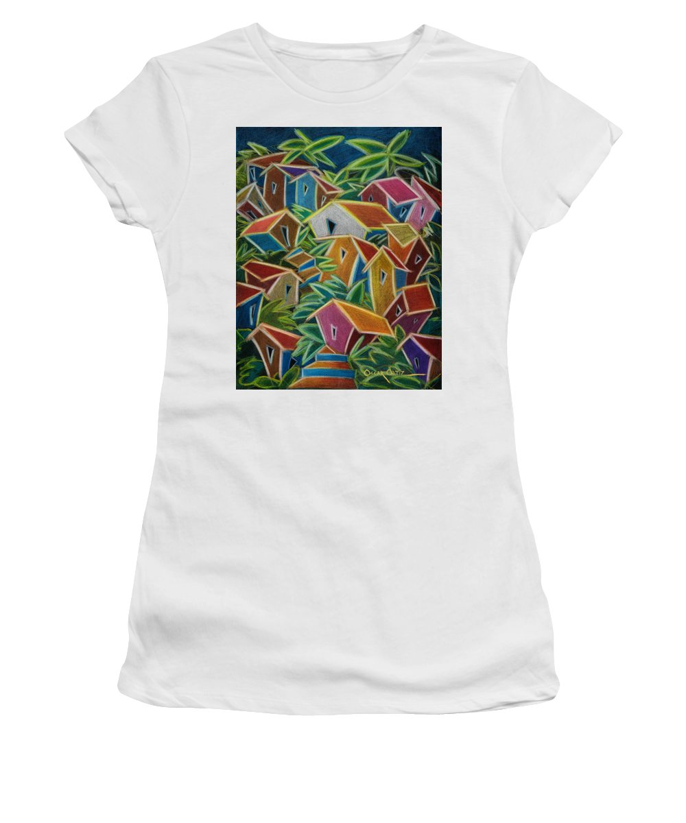 Landscape Women's T-Shirt (Junior Cut) featuring the painting Barrio Lindo by Oscar Ortiz