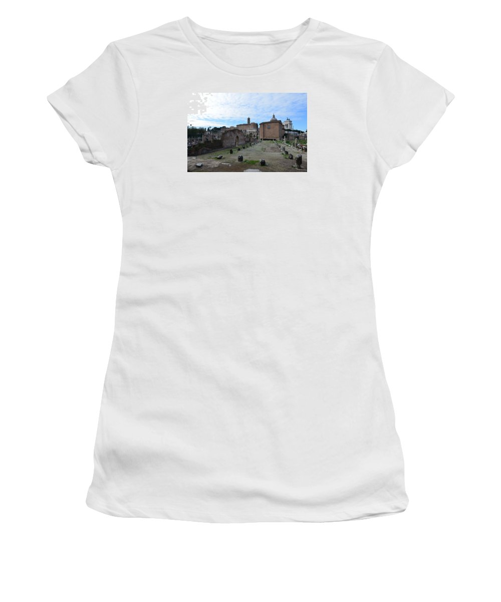 Basilica Aemilia Women's T-Shirt (Athletic Fit) featuring the photograph Basilica Aemilia From Behind by Tammy Mutka