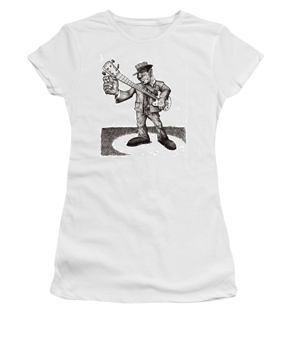 Blues Women's T-Shirt (Athletic Fit) featuring the drawing Bass by Tobey Anderson