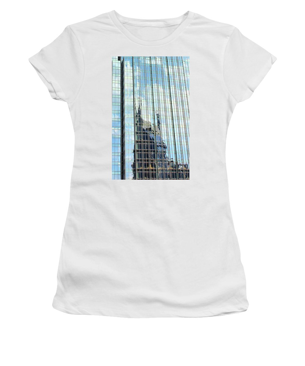 Bat Tower Women's T-Shirt (Athletic Fit) featuring the photograph Bat Tower Reflected by Kristin Elmquist