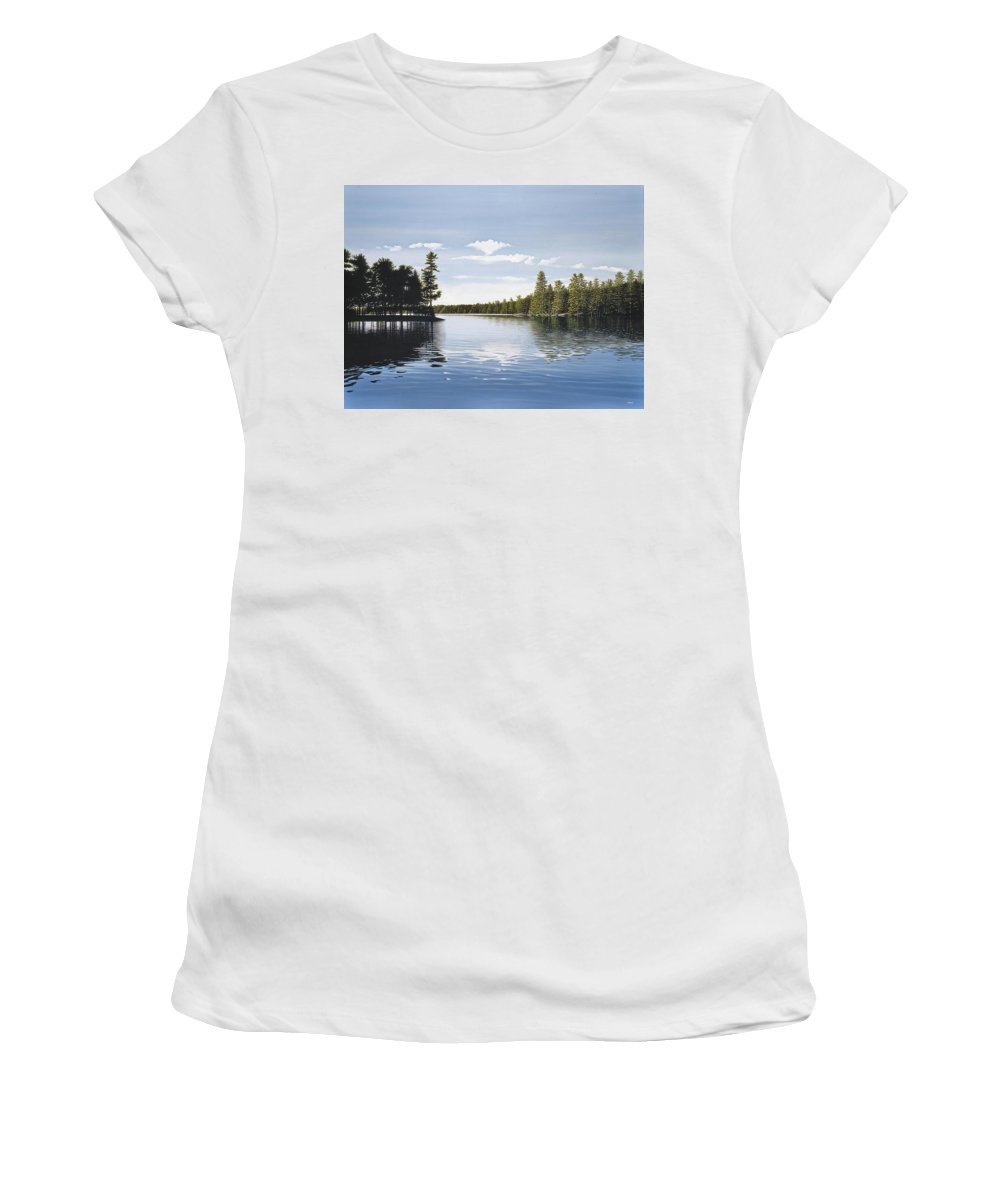 Landscapes Women's T-Shirt (Athletic Fit) featuring the painting Bay On Lake Muskoka by Kenneth M Kirsch