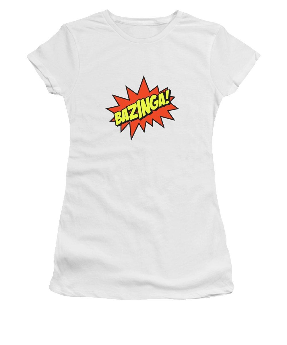 Bazinga Women's T-Shirt (Athletic Fit) featuring the mixed media Bazinga by Studio Grafiikka