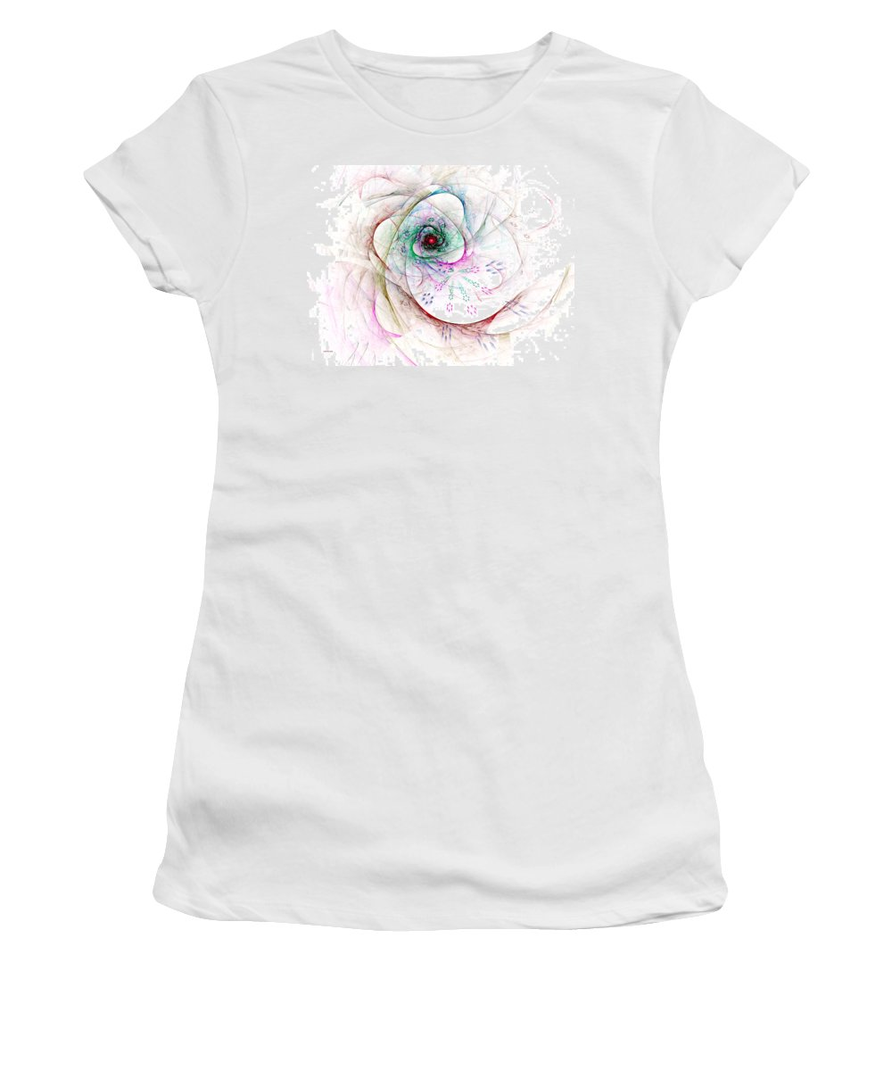Abstract Women's T-Shirt (Athletic Fit) featuring the digital art Be Strong Little Flower by Claire Bull