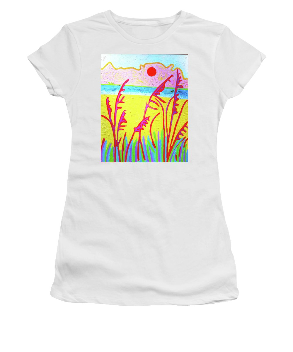 Painting With Thick Paint. Women's T-Shirt featuring the painting Beach Grasses by Rod Whyte