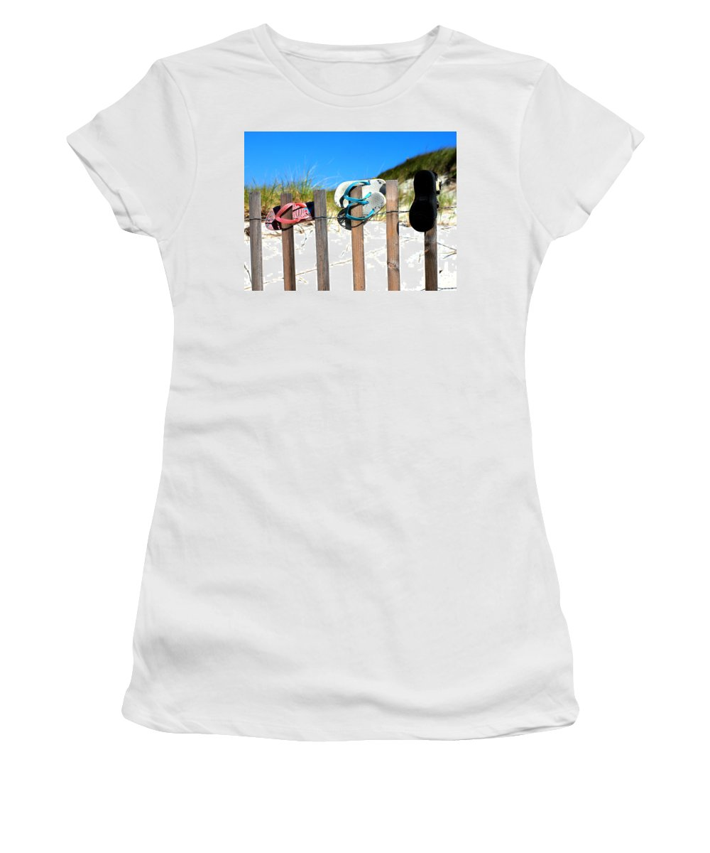 Sand Women's T-Shirt featuring the photograph Beach Sandels by Bruce Gannon